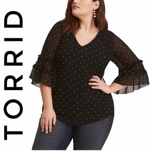 Torrid polka dot chiffon blouse